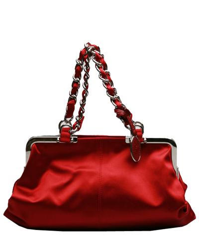 D&G Dolce & Gabbana Gemma Chain Strap Satin Evening Bag in Wine Red