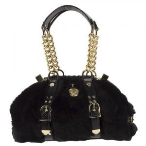 versace-black-faux-fur-satchel