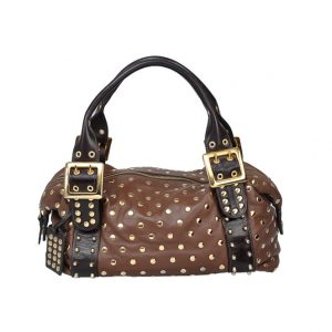 Be & E Ttobacco Chocolate Leather Large Studded Zip Tote