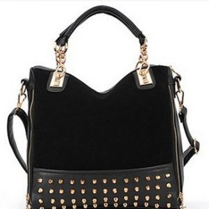 Black Studded Face Handbag with Side Slit-Pocket